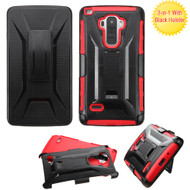 Tough Armor Hybrid Kickstand Case with Holster for LG G Stylo / Vista 2 - Black Red