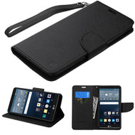 Leather Wallet Shell Case for LG G Stylo / Vista 2 - Black
