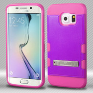 Military Grade Certified TUFF Trooper Hybrid Case for Samsung Galaxy S6 Edge - Purple Hot Pink