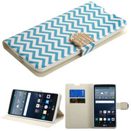 Art Design Portfolio Leather Wallet for LG G Stylo / Vista 2 - Blue Wave