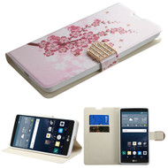 Art Design Portfolio Leather Wallet for LG G Stylo / Vista 2 - Spring Flowers