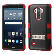 Military Grade Certified TUFF Hybrid Kickstand Case for LG G Stylo / Vista 2 - Black Red