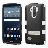 Military Grade Certified TUFF Hybrid Kickstand Case for LG G Stylo / Vista 2 - Black White
