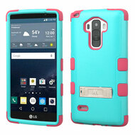 Military Grade Certified TUFF Hybrid Kickstand Case for LG G Stylo / Vista 2 - Teal Hot Pink