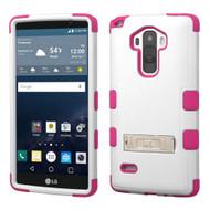 Military Grade Certified TUFF Hybrid Kickstand Case for LG G Stylo / Vista 2 - White Hot Pink