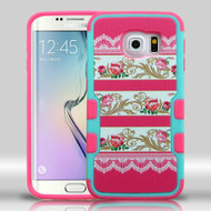 Military Grade Certified Military Grade TUFF Merge Graphic Hybrid Case for Samsung Galaxy S6 Edge - Pink Damask Flower