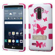 Military Grade Certified TUFF Image Hybrid Kickstand Case for LG G Stylo / Vista 2 - Butterfly Dancing