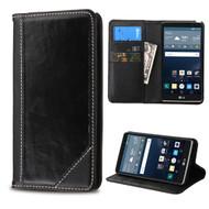 Mybat Genuine Leather Wallet Case for LG G Stylo / Vista 2 - Black