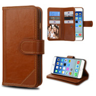 Mybat D'Lux Genuine Leather Wallet Case for iPhone 6 / 6S - Brown