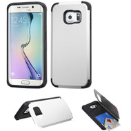 Credit Card Hybrid Kickstand Case for Samsung Galaxy S6 Edge Plus - Silver