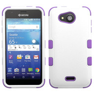 *Sale* Military Grade TUFF Hybrid Case for Kyocera Hydro Air / Hydro Wave - White Purple