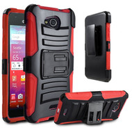 Advanced Armor Hybrid Kickstand Case with Holster for Kyocera Hydro Air / Hydro Wave - Black Red