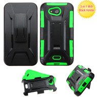 Tough Armor Hybrid Kickstand Case with Holster for Kyocera Hydro Air / Hydro Wave - Black Green
