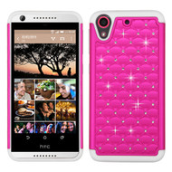 TotalDefense Diamond Hybrid Case for HTC Desire 650 / 626 / 555 / 550 / 530 - Hot Pink White