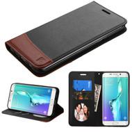 Premium Leather Wallet Book Case for Samsung Galaxy S6 Edge Plus - Black Brown