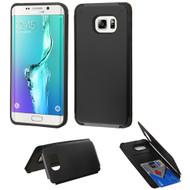 Credit Card Hybrid Kickstand Case for Samsung Galaxy S6 Edge Plus - Black