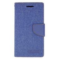 *Sale* Leather Fabric Wallet Book Case for Kyocera Hydro Air / Hydro Wave - Navy Blue