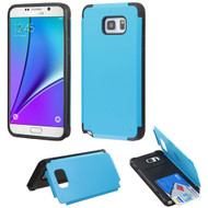 Credit Card Hybrid Kickstand Case for Samsung Galaxy Note 5 - Blue