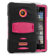 *Sale* Maximum Armor Hybrid Case for Microsoft Lumia 435 - Black Hot Pink