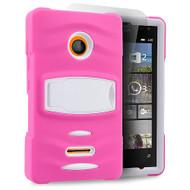 *Sale* Maximum Armor Hybrid Case for Microsoft Lumia 435 - Hot Pink White