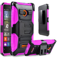 *Sale* Advanced Armor Hybrid Kickstand Case with Holster for Microsoft Lumia 435 - Black Hot Pink