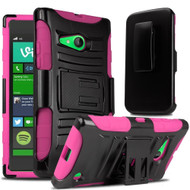 *Sale* Advanced Armor Hybrid Kickstand Case with Holster for Microsoft Lumia 730 / 735 - Black Hot Pink
