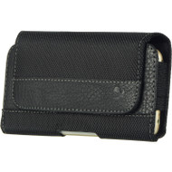 Leather Nylon Magnetic Holster Hip Pouch Case - Black