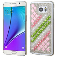 Desire Bling Bling Crystal Cover for Samsung Galaxy Note 5 - Diagonal Stripe Pearls