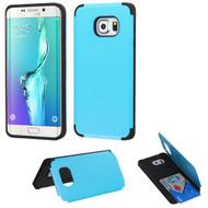 Credit Card Hybrid Kickstand Case for Samsung Galaxy S6 Edge Plus - Blue