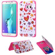 Credit Card Hybrid Kickstand Case for Samsung Galaxy S6 Edge Plus - Heart Graffiti