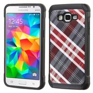 Tough Anti-Shock Hybrid Case for Samsung Galaxy Grand Prime - Plaid Red