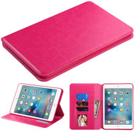 Book-Style Leather Folio Case for iPad Mini 4 - Hot Pink
