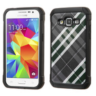 Tough Anti-Shock Hybrid Case for Samsung Galaxy Core Prime / Prevail LTE - Plaid Green