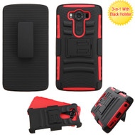 Advanced Armor Hybrid Kickstand Case with Holster for LG V10 - Black Red
