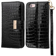 Crocodile Embossed Leather Wallet Case for iPhone 6 Plus / 6S Plus - Black