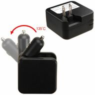 2-IN-1 Dual USB Car and AC Wall Travel Combo Charger - Black