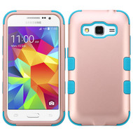 Military Grade Certified TUFF Hybrid Case for Samsung Galaxy Core Prime / Prevail LTE - Rose Gold Teal