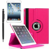 360 Degree Smart Rotating Leather Case Accessory Bundle for iPad Air 2 - Hot Pink