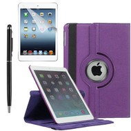 360 Degree Smart Rotating Leather Case Accessory Bundle for iPad Air 2 - Purple
