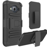 Advanced Armor Hybrid Kickstand Case with Holster for Samsung Galaxy Amp Prime / Express Prime / J3 / Sol - Black