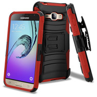 Advanced Armor Hybrid Kickstand Case with Holster for Samsung Galaxy Amp Prime / Express Prime / J3 / Sol - Black Red