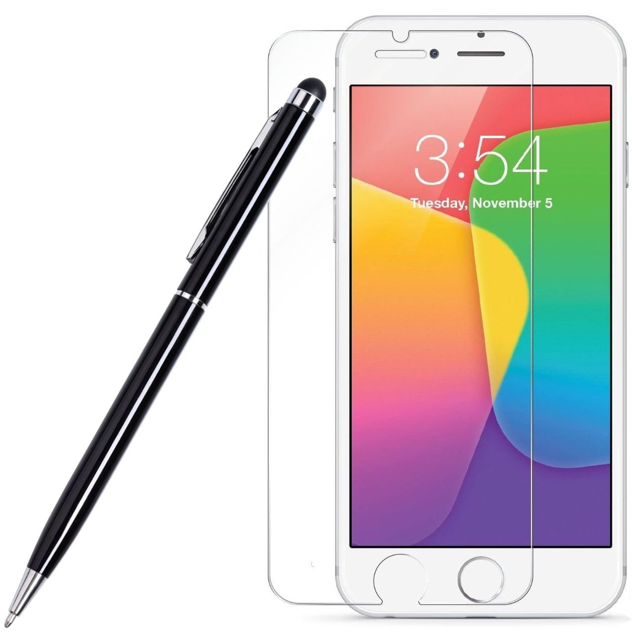 Hd Premium Round Edge Tempered Glass Screen Protector Stylus Pen For Iphone 8 7 6s 6
