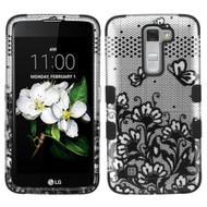 Military Grade Certified TUFF Hybrid Case for LG K7 / Treasure LTE / Tribute 5 - Lace Flowers Black