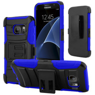 *SALE* Advanced Armor Hybrid Kickstand Case with Holster for Samsung Galaxy S7 - Black Blue