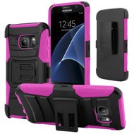 *SALE* Advanced Armor Hybrid Kickstand Case with Holster for Samsung Galaxy S7 - Black Hot Pink