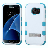 Military Grade Certified TUFF Hybrid Kickstand Case for Samsung Galaxy S7 - White Teal