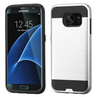 Brushed Hybrid Armor Case for Samsung Galaxy S7 Edge - Silver