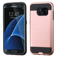 Brushed Hybrid Armor Case for Samsung Galaxy S7 Edge - Rose Gold