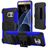 Advanced Armor Hybrid Kickstand Case with Holster for Samsung Galaxy S7 Edge - Black Blue