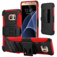 Advanced Armor Hybrid Kickstand Case with Holster for Samsung Galaxy S7 Edge - Black Red